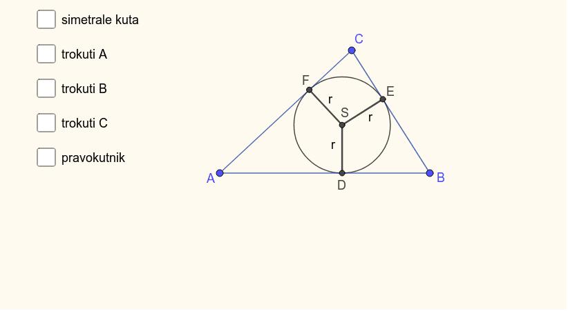 Površinu trokuta možemo računati prema formuli P = rs, gdje je r polumjer trokutu upisane kružnica i s poluopseg. Pritisnite Enter kako bi pokrenuli aktivnost
