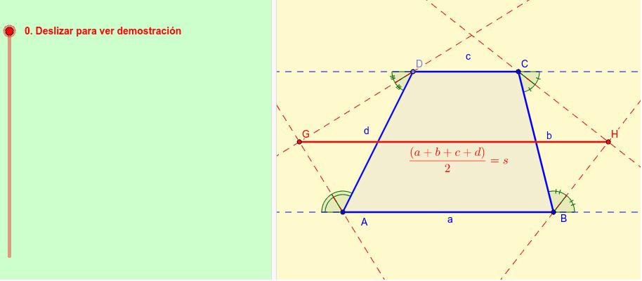 Bisectrices exteriores del trapecio y semiperímetro – GeoGebra