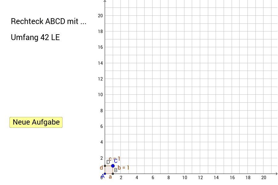 Verschiebe die Punkte A und C so, dass du ein entsprechendes Rechteck erhältst. Findest du verschiedene Möglichkeiten?