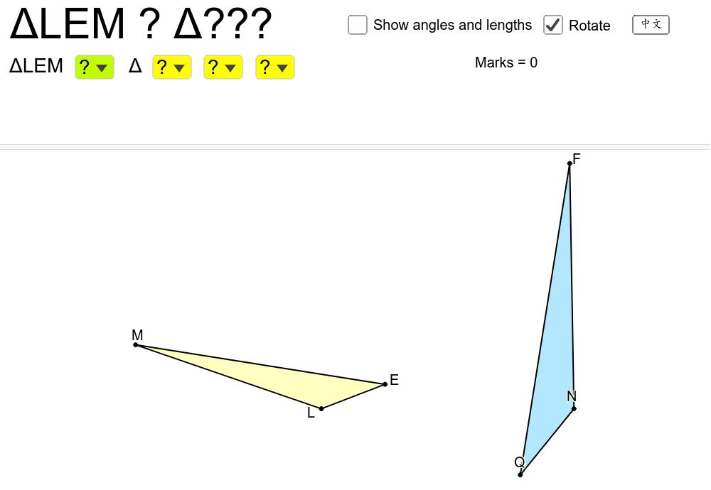 選出兩個三角形是全等還是相似,並配對正確的名稱。留意兩個三角形可供平移。 按 Enter 鍵開始活動