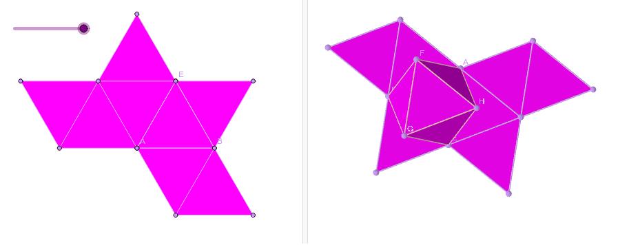 Explora el octaedro y su desarrollo.