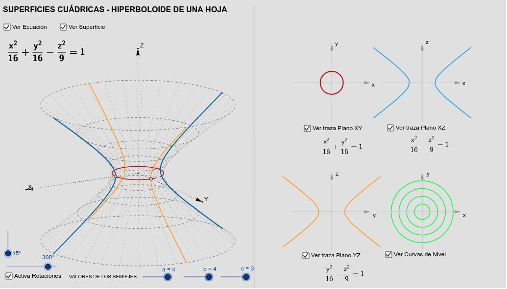 Superficies cuádricas - Hiperboloide de 1 Hoja