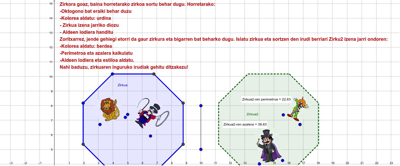 Zirkua eraikitzen Sakatu Enter jarduera hasteko