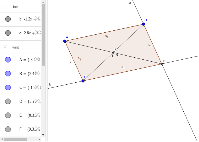 Parallelogram with 2 Pairs of Diagonals that Bisect Press Enter to start activity