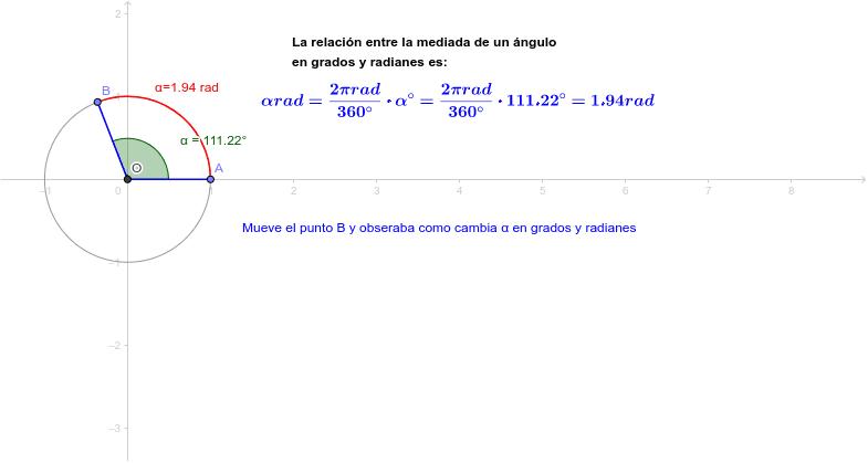 Relación grado-radianes Press Enter to start activity
