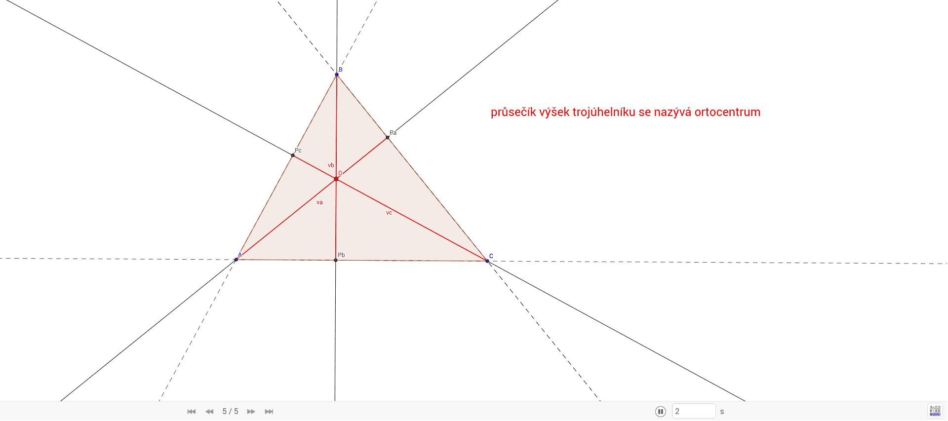 výška trojúhelníku je kolmá úsečka spuštěná z vrcholu trojúhelníku na protější stranu