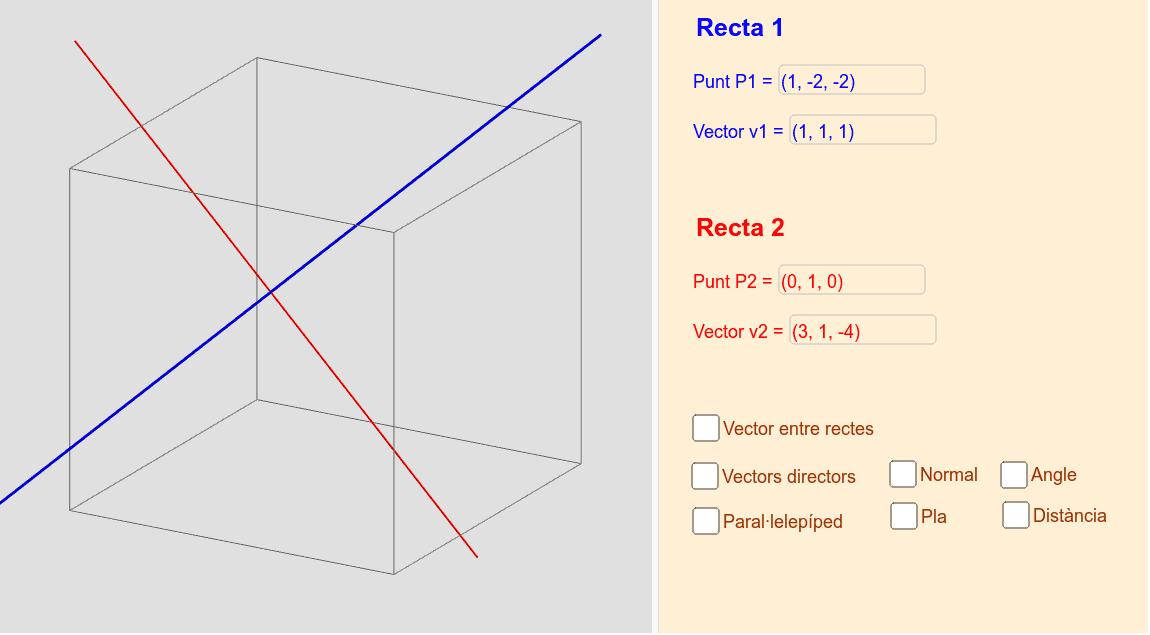Distància entre dues rectes
