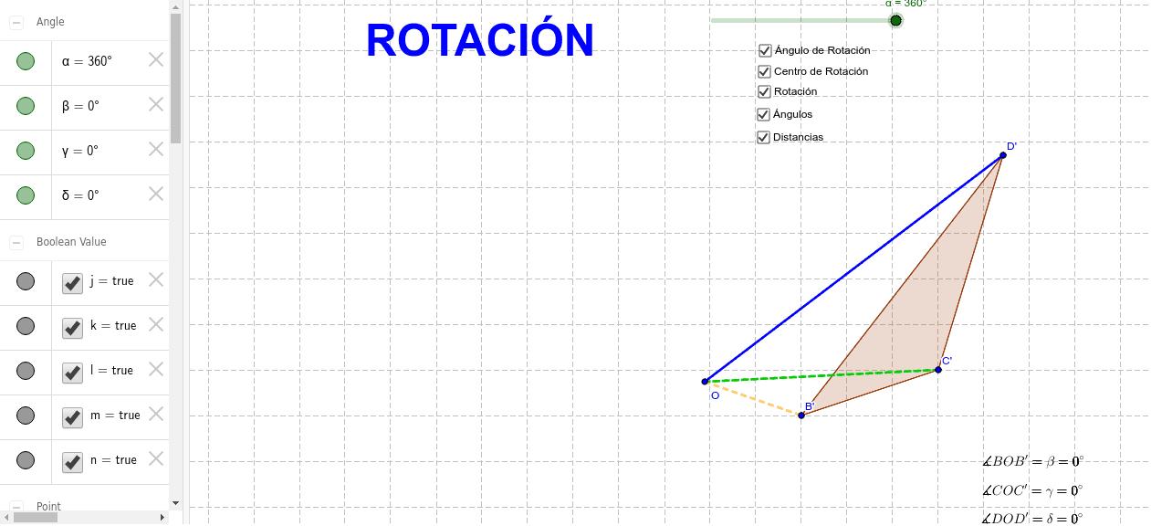 Rotar la figura BCD en sentido antihorario. Toma el punto D y desplázalo. ¿Qué sucede con la figura al rotarla?