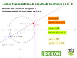 Razões Trigonométricas de ângulos de amplitudes α e α - π