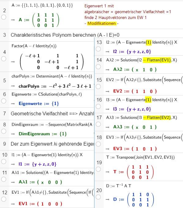 Modifikationen zur Berechnung von Hauptvektoren