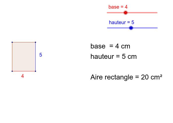 """Déplacez les curseurs """"base"""" et """"hauteur"""" afin de découvrir la formule d'aire"""