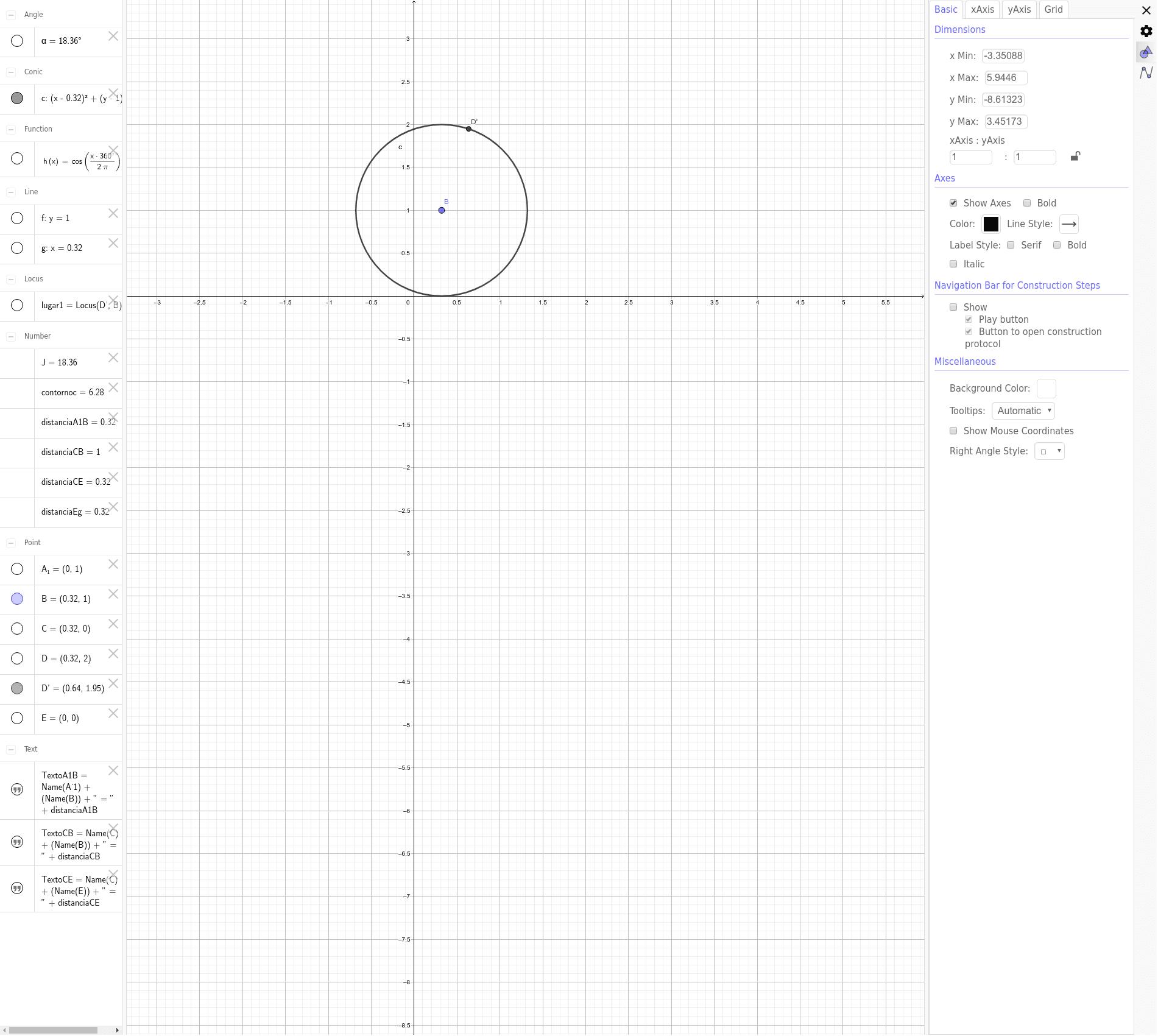 Mueve el punto B para rotar la circunferencia