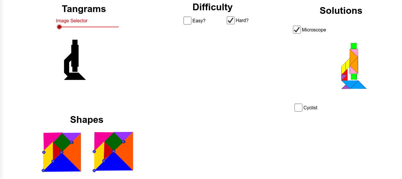 Pick a difficulty, Use the slider to select the image, Use the shapes at the bottom of the page to create your image, Select the name of your image for a solution, REPEAT. See rules below. Press Enter to start activity