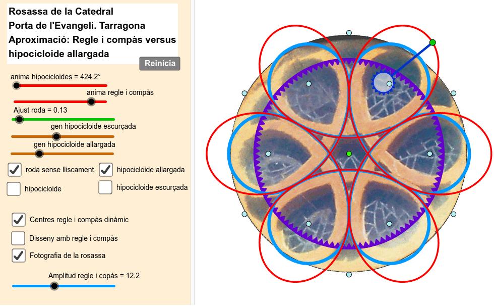 Rosassa de la porta de l'Evangeli en què es contrasta una aproximació amb regle i compàs amb la d'una hipocicloide allargada generada per un cercle rodant sense lliscar dins d'un cercle Premeu Enter per iniciar l'activitat