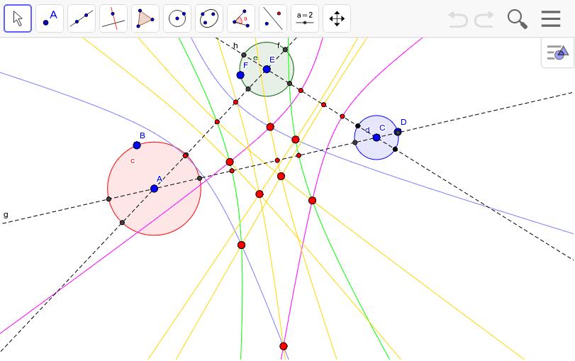 三本の双曲線が交じり合った点は8個ある。
