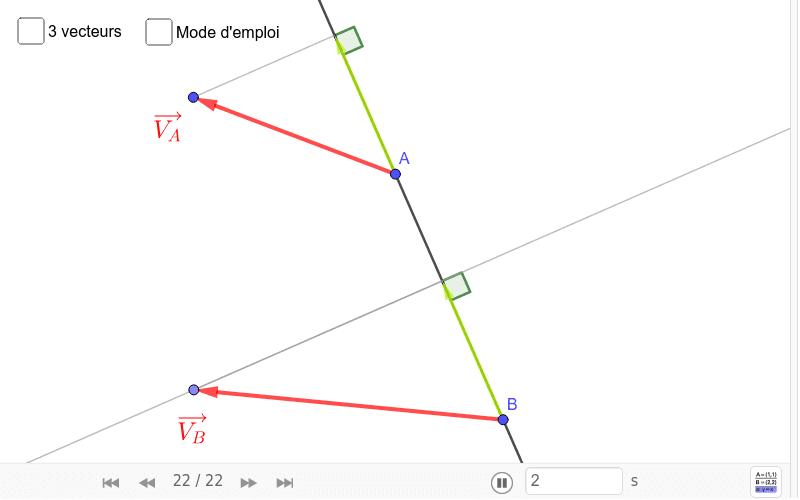 """Propriété d'équiprojectivité des vecteurs vitesse des points d'un solide en mouvement Tapez """"Entrée"""" pour démarrer l'activité"""