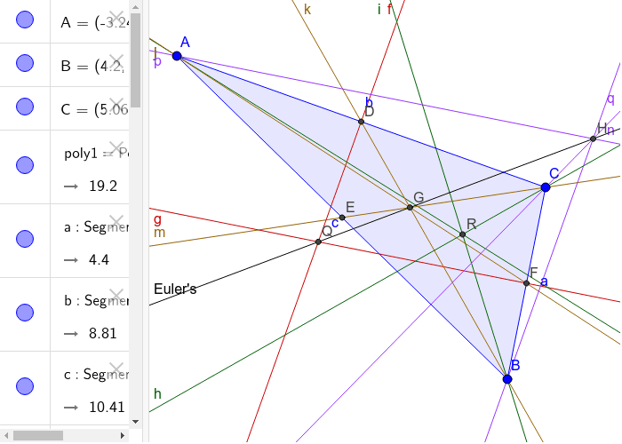 The Euler's Line contains the circumcenter, the orthocenter, and the centroid. The incenter is not included in Euler's line