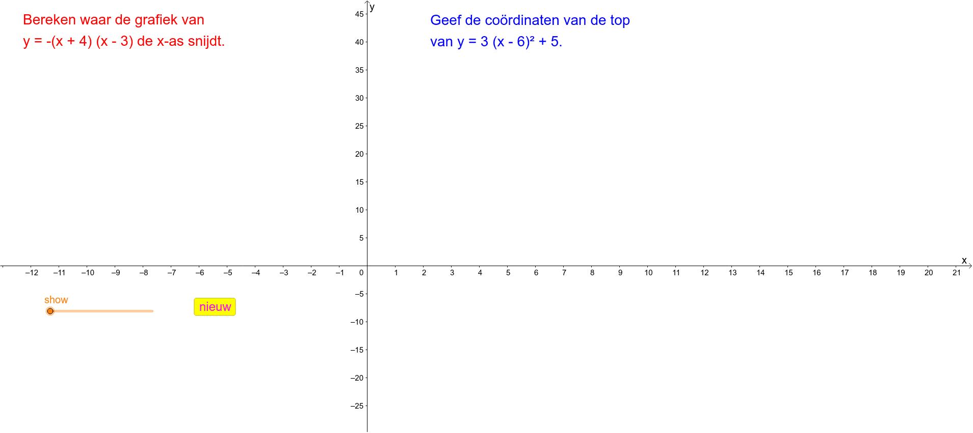 Coördinaten van de top van een parabool Klik op Enter om de activiteit te starten