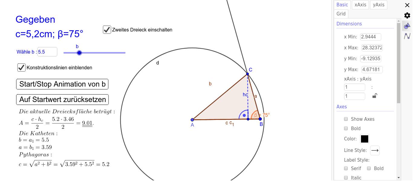 Aufgabestellung: Konstruiren Sie einen Dreieck mit: b=6.8, c=5.2, betha=75Grad