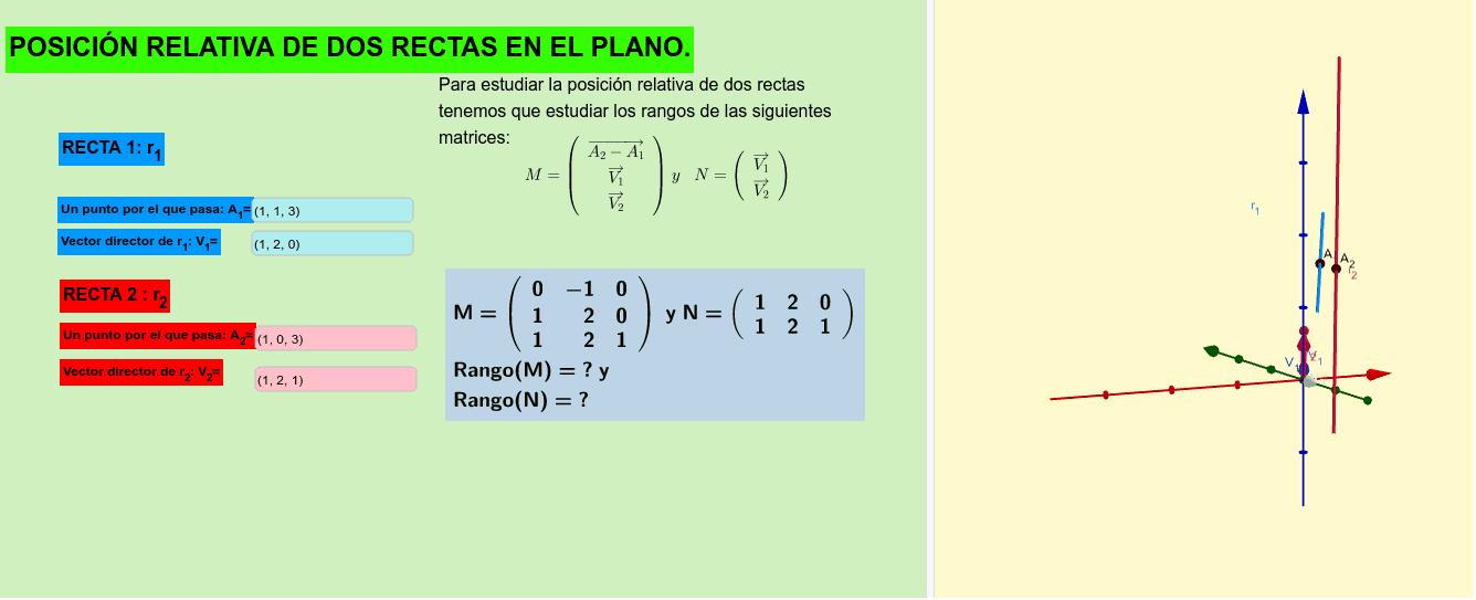 POSICIÓN RELATIVA DE DOS RECTAS EN EL ESPACIO. Con esta aplicación se puede estudiar la posición relativa de dos rectas en el espacio, esta pensada para usar las ecuaciones vectoriales. Presiona Intro para comenzar la actividad
