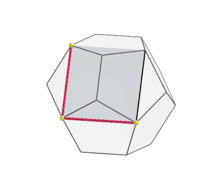 La imagen muestra  tres vértices coplanarios del dodecaedro que definen una cara del cubo inscrito.