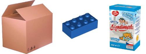 Zleva: Krabice, kostička stavebnice, obal mléčného výrobku