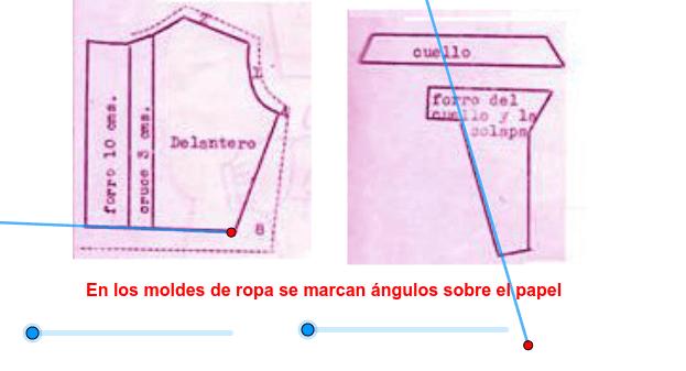 Usa los deslizadores celestes para ver los ángulos que se marcan en los moldes Presiona Intro para comenzar la actividad