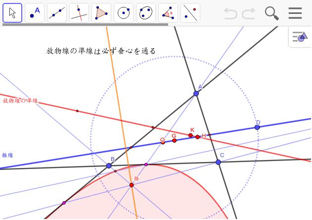 放物線の準線を作図してみて気がついた。作図の仕方は極と垂直に交わる線との直角三角形の斜辺の中点から。 ワークシートを始めるにはEnter キーを押してください。