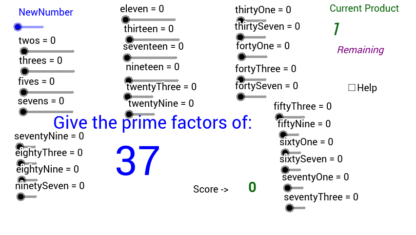 Use the bars to try and find out the factors that make up the number in blue