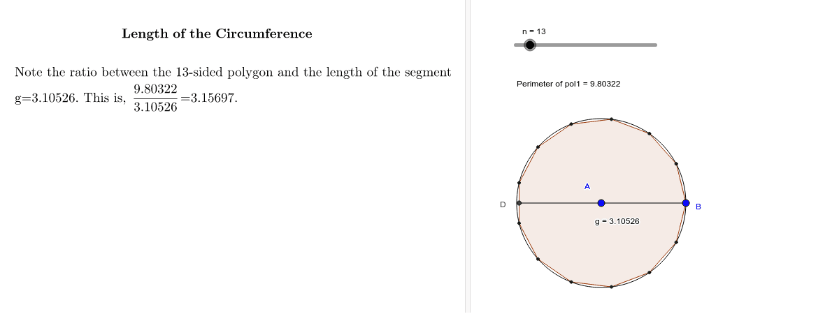 Intuitive ideas for determining π Press Enter to start activity