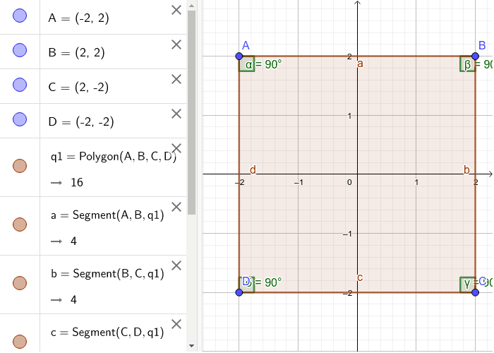 Here, we have a square. When we move the vertices around this time we might not have a Square ABCD, but let's see how the angles change. Try moving the vertices. Press Enter to start activity