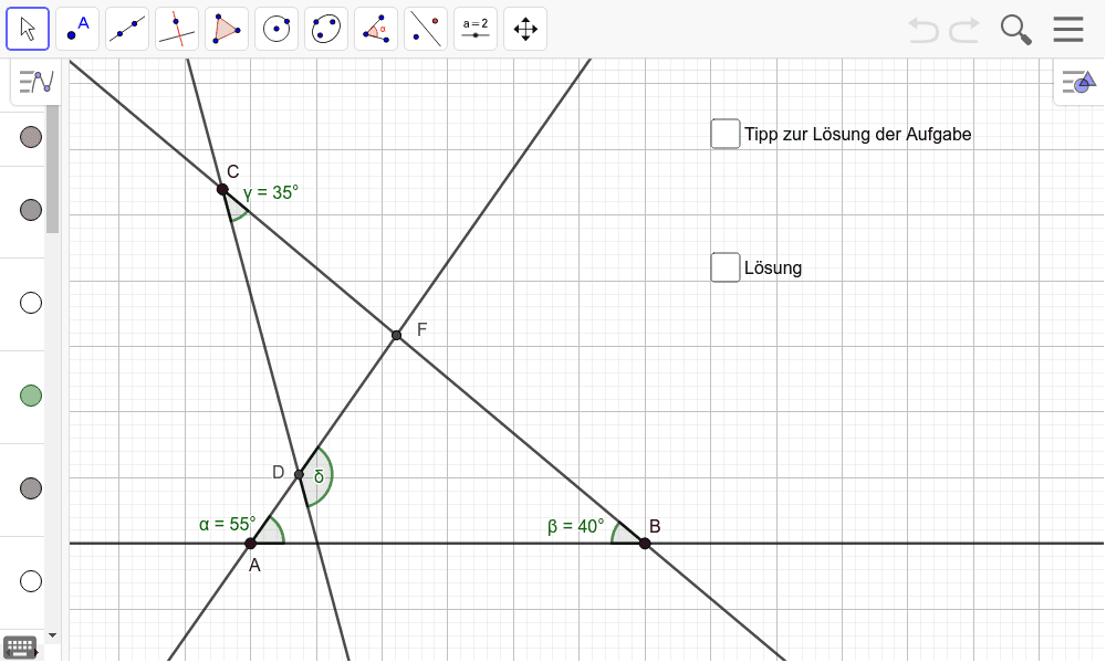 (5) Wie groß ist der Winkel δ? Überlegt gemeinsam und nutzt GeoGebra zur Überprüfung. Drücke die Eingabetaste um die Aktivität zu starten