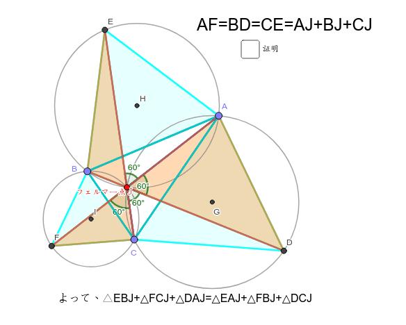 3対角線の長さ=AJ+BJ+CJが簡単に証明できるところが素敵。