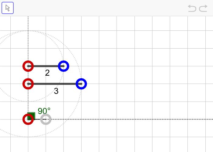 문제7. 두 변의 길이가 2, 3이고 3인 변의 대각의 크기가 90º인 삼각형(SSA) 활동을 시작하려면 엔터키를 누르세요.