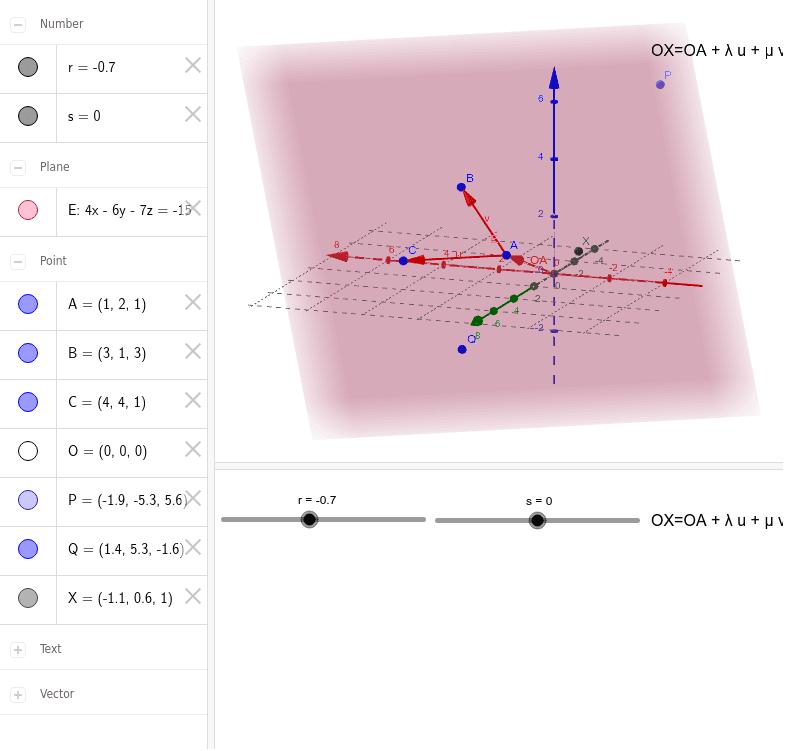 Parameterdarstellung der Ebene - Stütz- und Spannvektoren