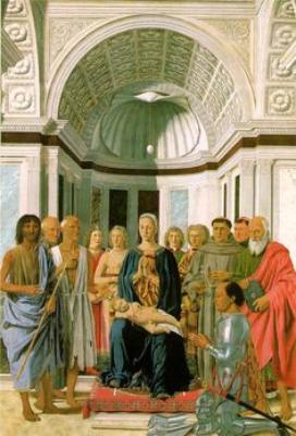 Pietro della Francesca. Madonna con niño y santos (Cuadro del huevo). 1475. The Nacional Gallery. Londres.