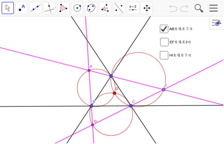外接三円を拡大していくと、外接三角形は内接三角形になる。これもきれいな対称性の1つ。